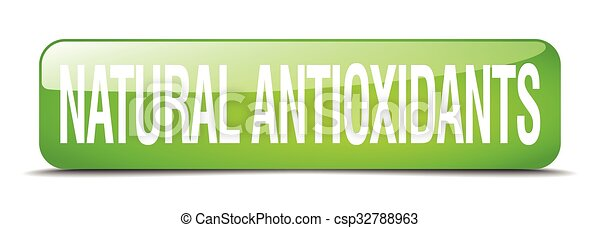 natural antioxidants green square 3d realistic isolated web button - csp32788963