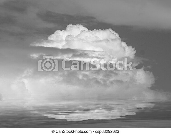 Natural background with stormy clouds and full moon in sea reflection - csp83292623