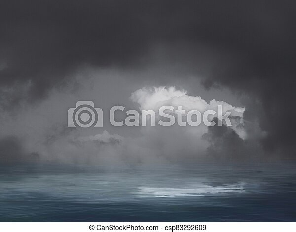 Natural background with stormy clouds and full moon in sea reflection - csp83292609