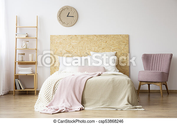 Natural bedroom for woman - csp53868246