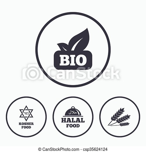 Natural Bio Food Icons Halal And Kosher Signs Gluten Free