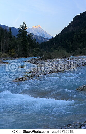 natural blue river in austria - csp62782968