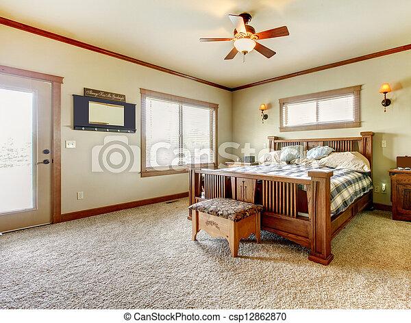 natural, casa fazenda, walls., verde, bege, quarto, cabana, tapete - csp12862870