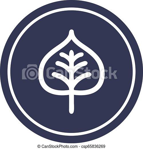 icono circular de hoja natural - csp65836269