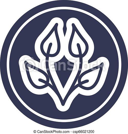 icono circular de hoja natural - csp66021200