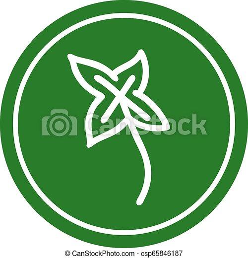 icono circular de hoja natural - csp65846187