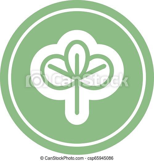icono circular de hoja natural - csp65945086