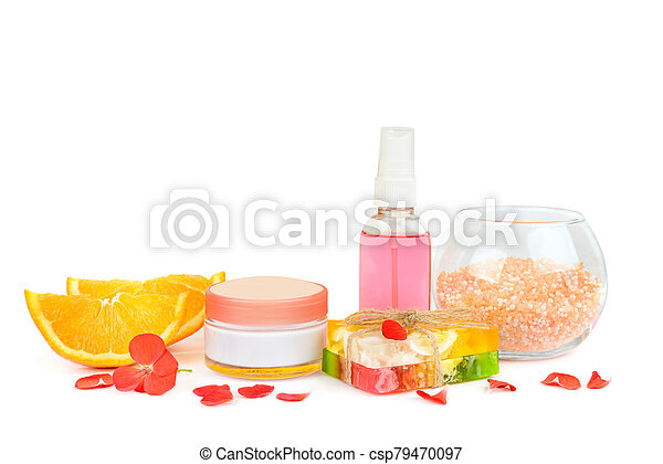 Natural Cosmetics For Skin Care Isolated On A White Background Free Space For Text Set Of Natural Cosmetics For Skin Care
