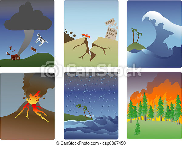 Natural Disaster Minitures Miniature Vector Illustrations Of