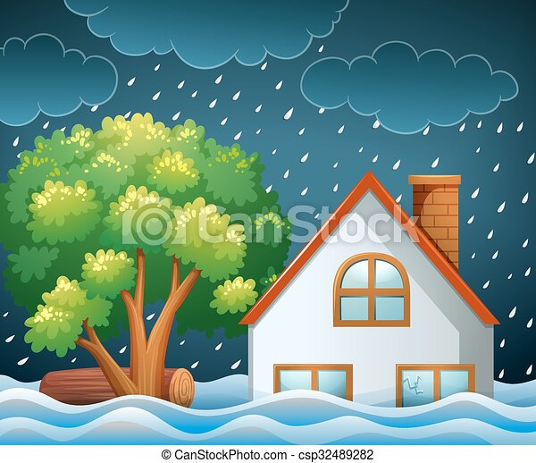 Natural Disaster Scene Of Flooding Illustration