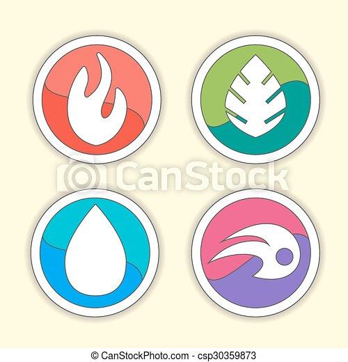 Natural Elements Vector Icons Set Vector Symbols Of Four Elements