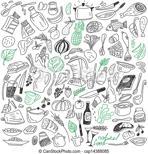 Natural Food Doodles Natural Food Set Vector Icons In Sketch Style