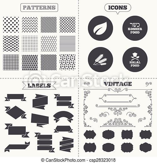 Seamless Patterns Sale Tags Labels Natural Food Icons Halal And