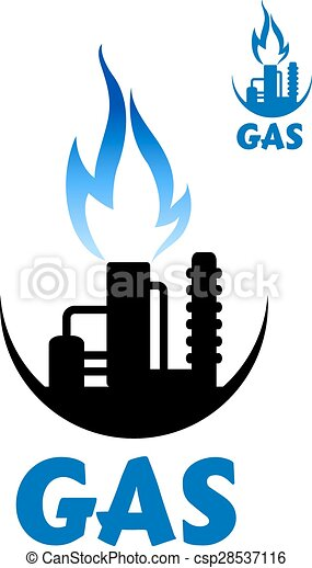 Natural Gas Factory Complex With Blue Flame Natural Gas Factory