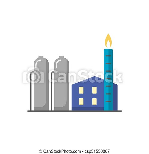 Natural Gas Plant Icon In Flat Style Non Renewable Energy