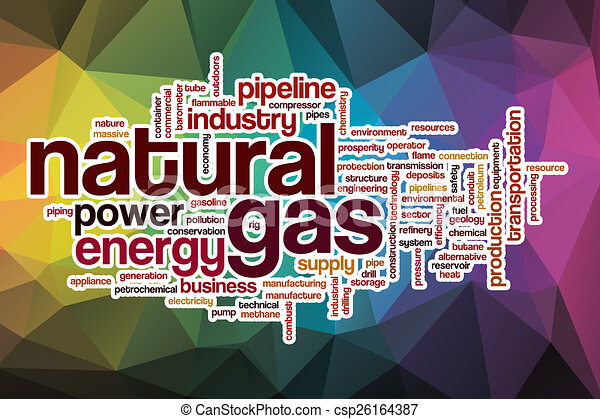 Natural gas word cloud with abstract background - csp26164387