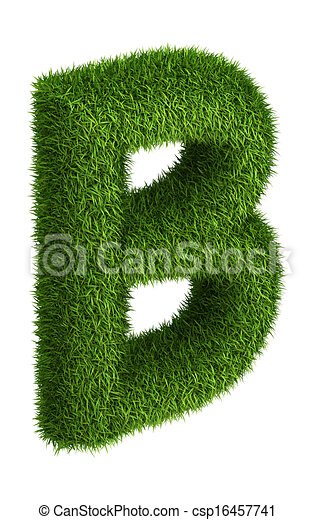 4096b1f30 Natural grass letter b. 3d letter b photo realistic isometric ...