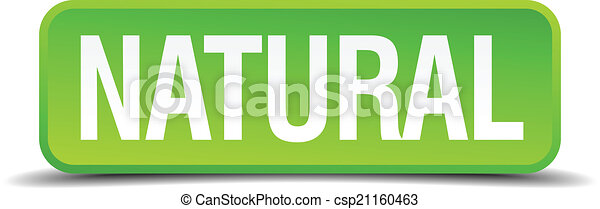 Natural green 3d realistic square isolated button - csp21160463