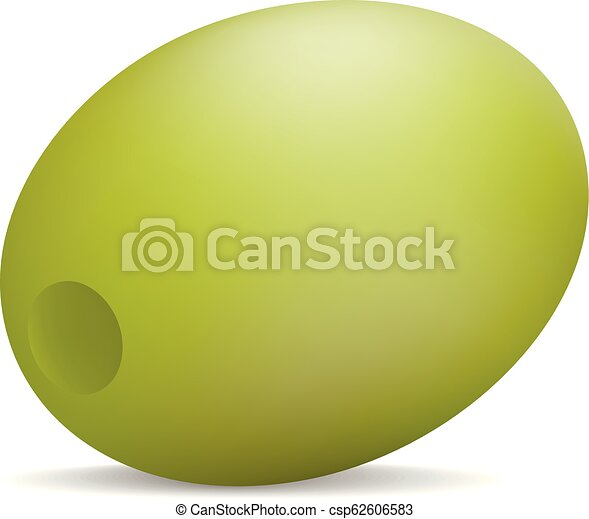 Natural green olive icon, realistic style - csp62606583