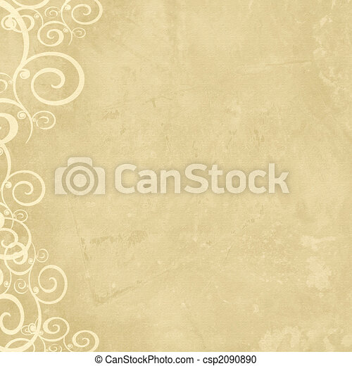 Natural grunge shabby old paper with swirl left border - csp2090890