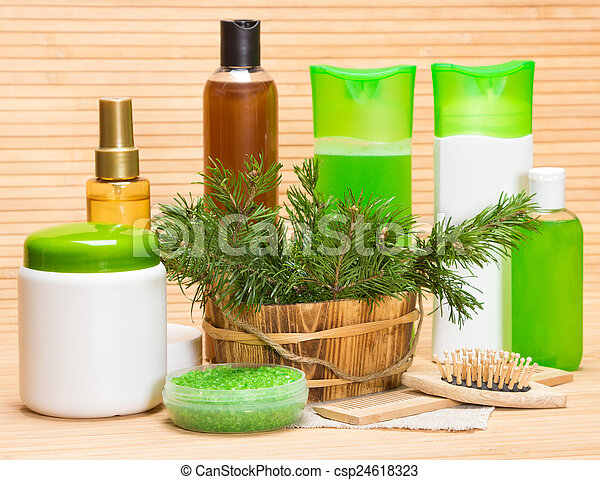Natural hair care cosmetics and accessories - csp24618323