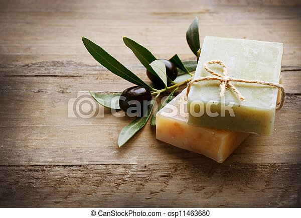 Natural Handmade Soap and Olives - csp11463680