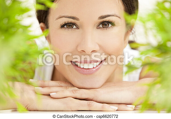 Natural Health Concept Beautiful Woman Smiling - csp6620772