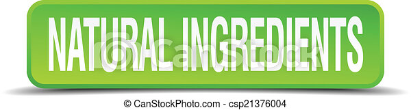 natural ingredients green 3d realistic square isolated button - csp21376004