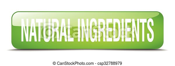 natural ingredients green square 3d realistic isolated web button - csp32788979