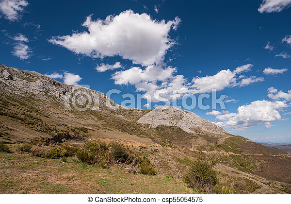 Natural landscape in Palencia mountains, Castilla y Leon, Spain. - csp55054575