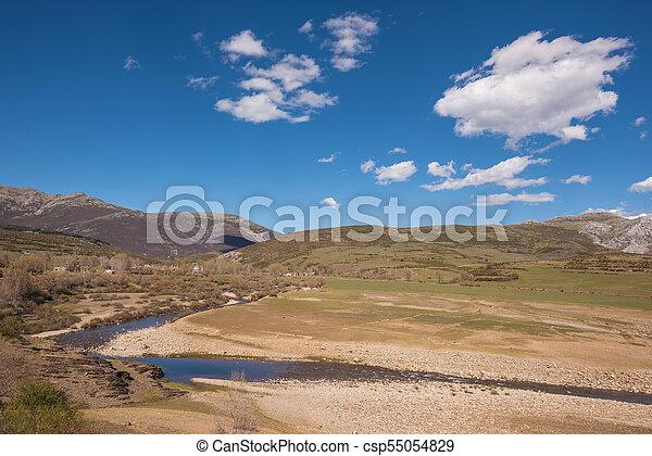 Natural landscape in Palencia mountains, Castilla y Leon, Spain. - csp55054829