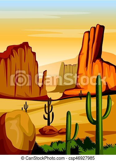 Vector Illustration Of Natural Landscape Of Sand Dune In Desert