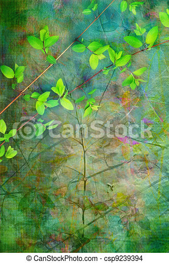 Natural leaves grunge beautiful, artistic background  - csp9239394
