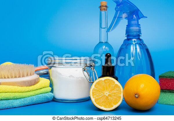 natural, limpadores, products., verde, eco-amigável, caseiro, limpeza - csp64713245
