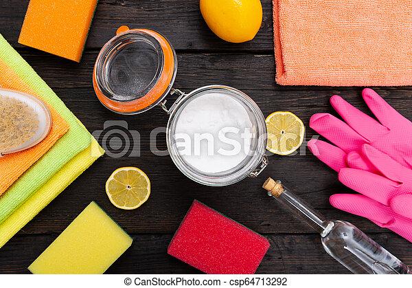 natural, limpadores, products., verde, eco-amigável, caseiro, limpeza - csp64713292