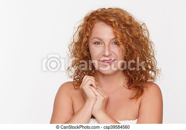 Natural mature woman - csp39584560