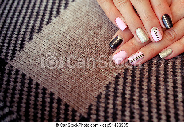 Natural nails, gel polish. perfect clean manicure with zero... stock ...