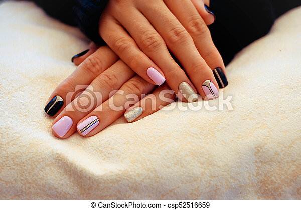 Natural nails, gel polish. stylish nails, nailpolish. nail... stock ...