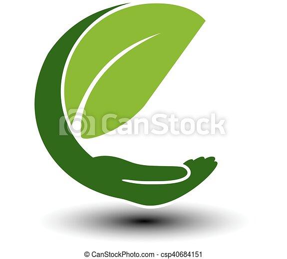 Simbolo de energía verde. Elemento natural circular con hoja y mano. Ícono de la naturaleza. - csp40684151