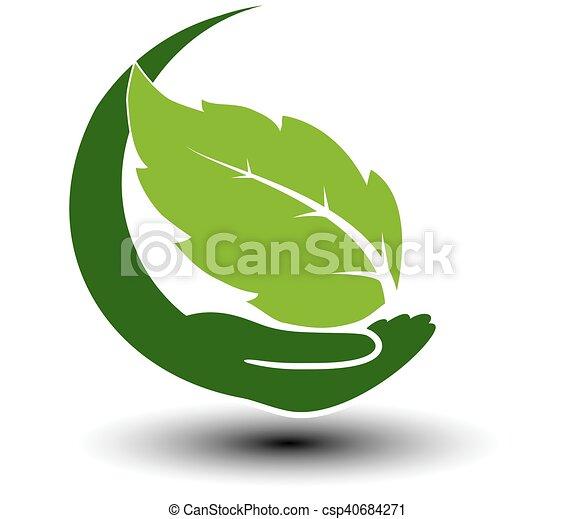 Simbolo de energía verde. Elemento natural circular con hoja y mano. Ícono de la naturaleza. - csp40684271