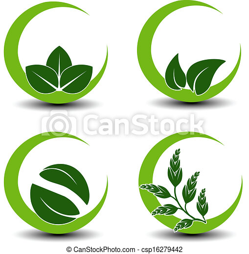 Simbolos naturales vectores con hoja, icono de la naturaleza circular - csp16279442
