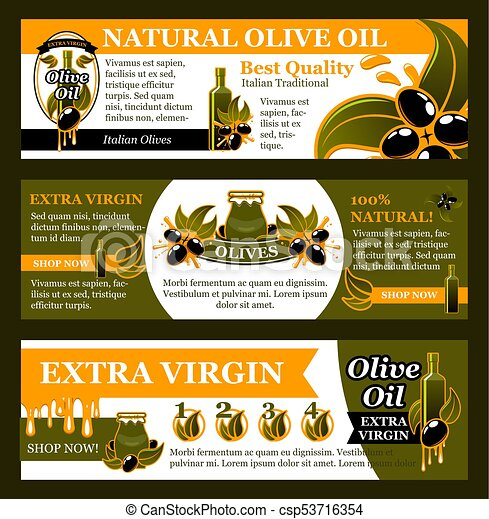 Natural Olive Oil Product Banner Set Food Design Olive Oil Natural Food Banner Set Black Olive Fruit Branches Green Leaf