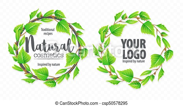 Natural organic sign logo with green leaves - csp50578295