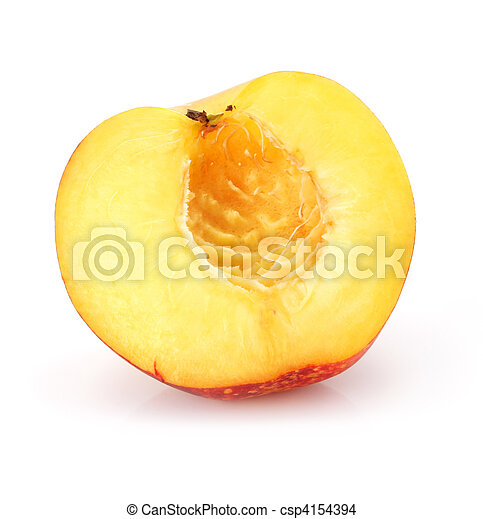 natural peach fruit cut isolated on white - csp4154394