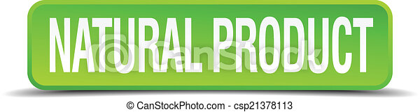 natural product green 3d realistic square isolated button - csp21378113