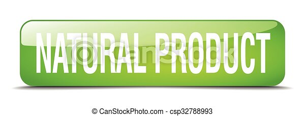 natural product green square 3d realistic isolated web button - csp32788993