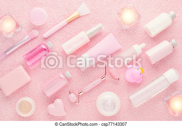 Natural Products For Skin Care On Pink Background Flat Lay Natural Beauty Products On Pink Background View From Above