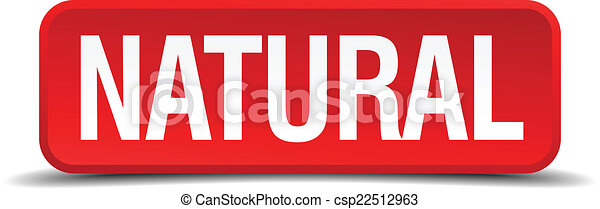 Natural red 3d square button isolated on white - csp22512963