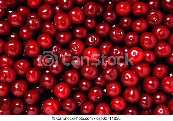 natural ripe fresh cherry, background, close-up - csp62711038