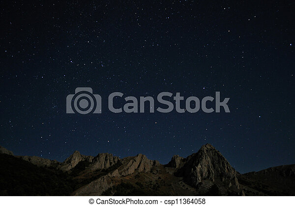 Natural rocks and stars at night - csp11364058